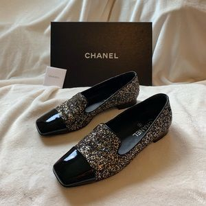 Chanel Milky Way Glitter Moccasin 38